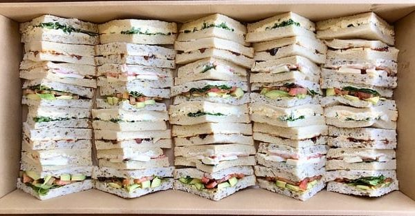 Sandwiches in a party Box